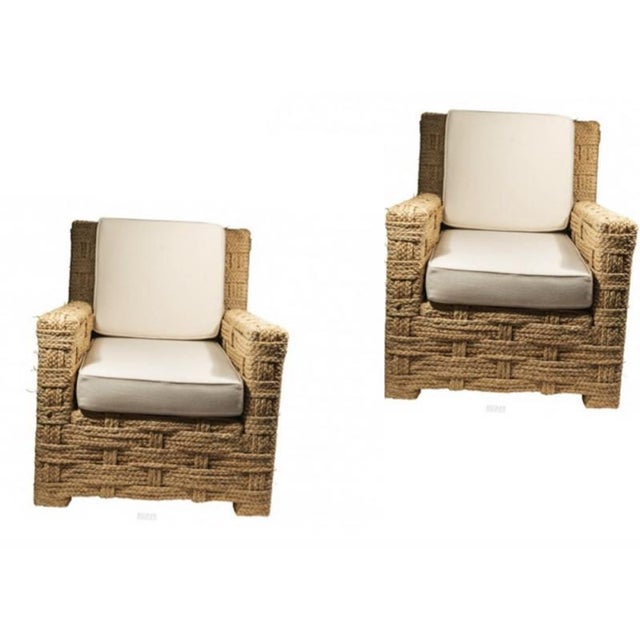 Adrien Audoux and Frida Minet Audoux Minet Pair of Woven Rope Lounge Comfy Chairs For Sale - Image 4 of 7