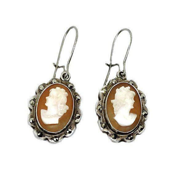 Italian 800 Silver Cameo Earrings For Sale - Image 4 of 4