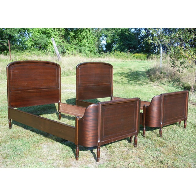 Antique Pair Art Deco Mahogany Twin Curved Beds Vintage