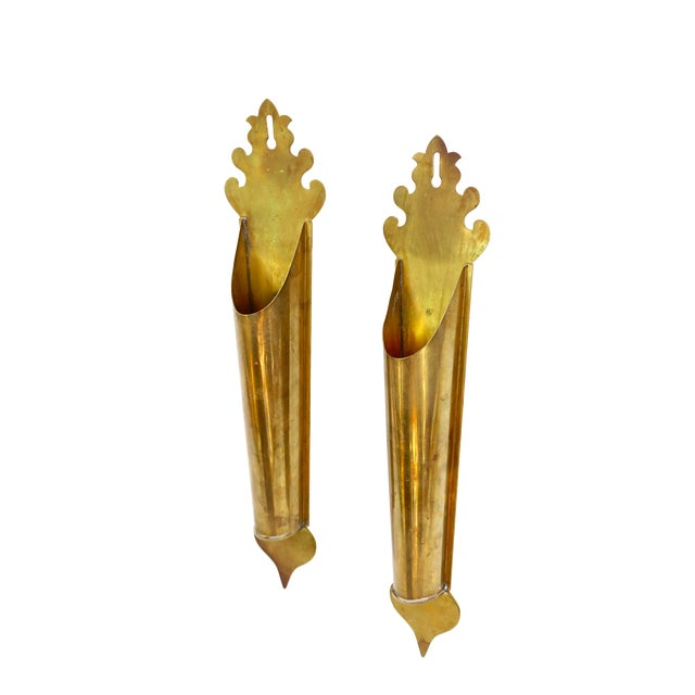 Vintage Brass Wall Planters | Pair of Wall Mount Vases | Moroccan Stemmed Flower Sconces|| Boho Chic/Hollywood Regency Wall Decor For Sale
