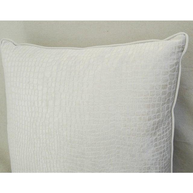 Late 20th Century Modern Boho Chic White Crocodile Textured Velvet Pillow For Sale - Image 5 of 5