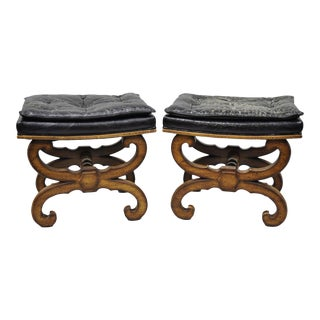 Italian Regency Style Curule X-Frame Stools Carved Wood Benches - a Pair For Sale