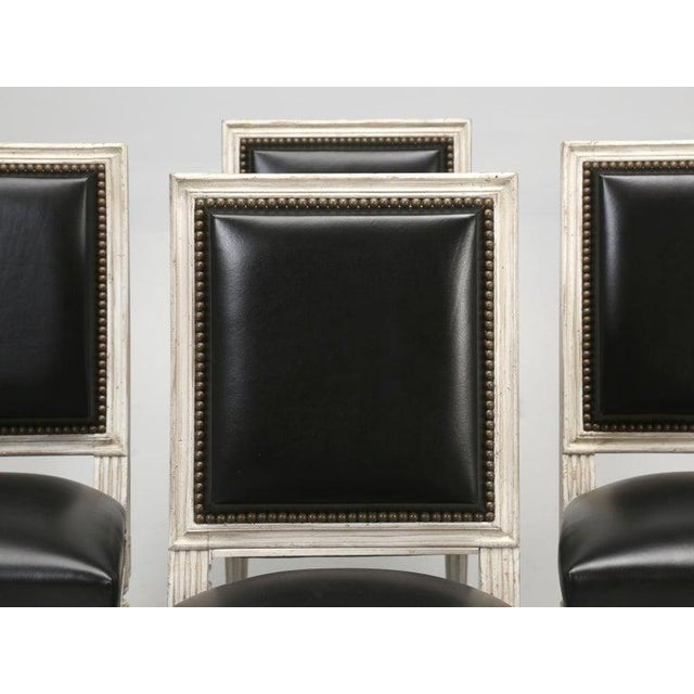 Early 20th Century 8 Painted French Louis XVI Dining Chairs W/ Leather For Sale - Image 5 of 13