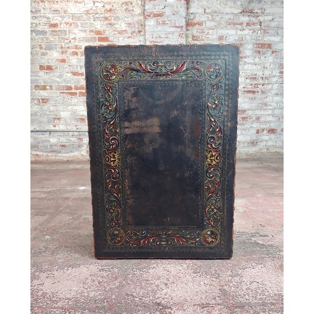 18th Century Spanish Revival Leather Top Trestle Occasional Table For Sale In Los Angeles - Image 6 of 11