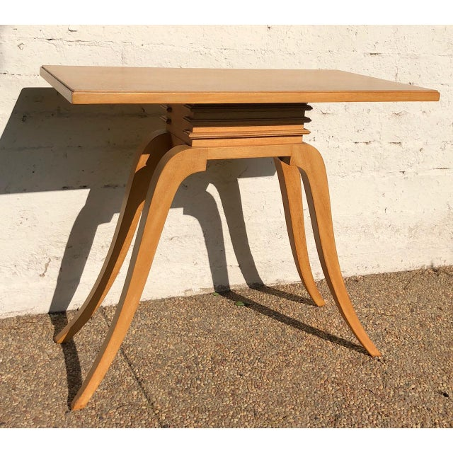 """Early 1930s Paul Frankl console table sometimes called the """"bell table."""" With four elegant, delicate (yet strong!) sabred..."""