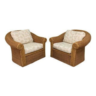 Wicker Club Chairs in the Style of Michael Taylor - a Pair For Sale