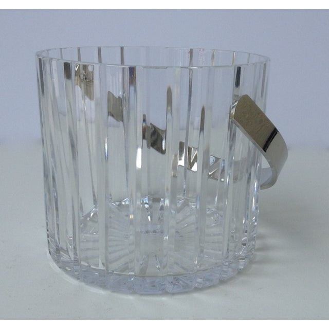 Crystal Faceted Ice Bucket With Chrome Handle - Image 3 of 11
