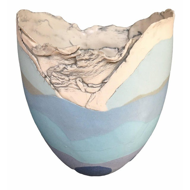 British Studio Pottery Mary White Blue, Lavender, Grey and White Vase Vessel, of ovate form, the lower section glazed in...