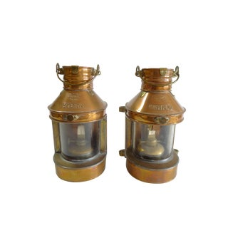 Nautical Ship Oil Copper Lanterns - A Pair