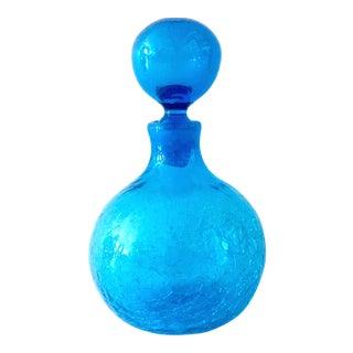 Mid-Century Modern Blenko Crackle Glass Decanter For Sale