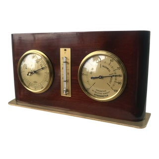 Brass and Wood Barometer For Sale