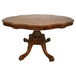 Mid 19th Century Antique English Burl Walnut Breakfast Table For Sale