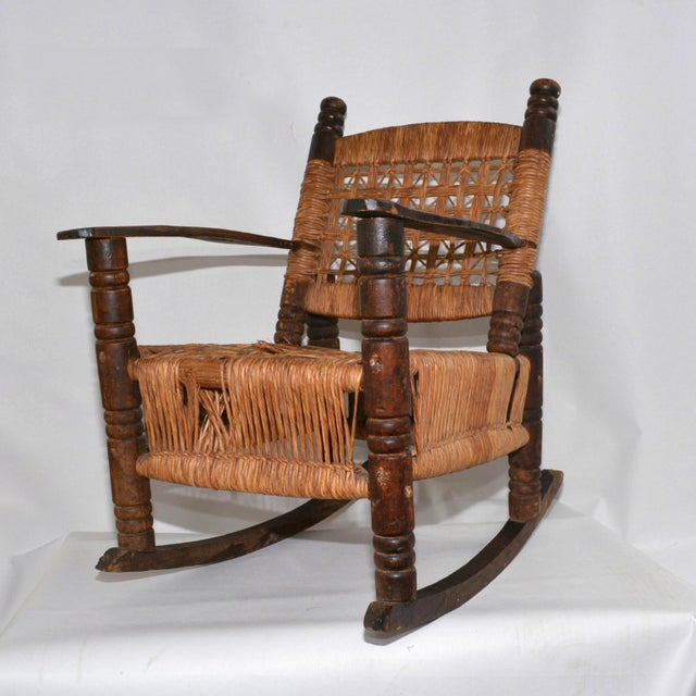 Mid-Century Modern Antique Children's Wood & Wicker Seagrass Armchair Rocker For Sale - Image 3 of 13