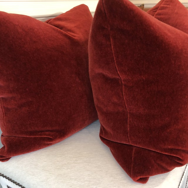 "Traditional Brick Red Mohair 22"" Pillows-A Pair For Sale - Image 3 of 7"