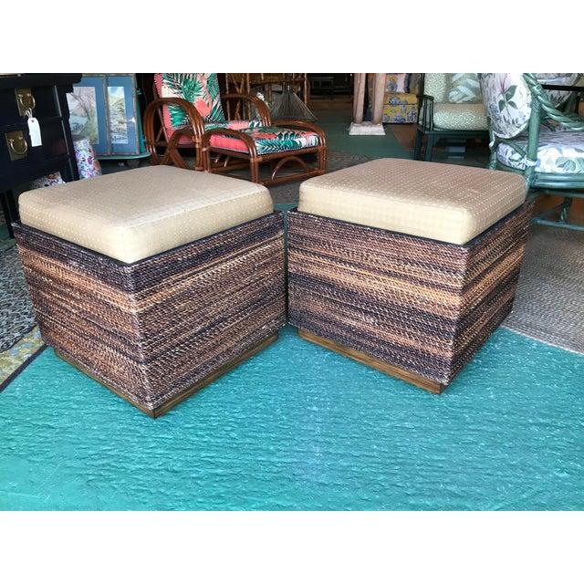 Incredible Vanguard Wicker Wood Storage Ottomans Pair Ibusinesslaw Wood Chair Design Ideas Ibusinesslaworg