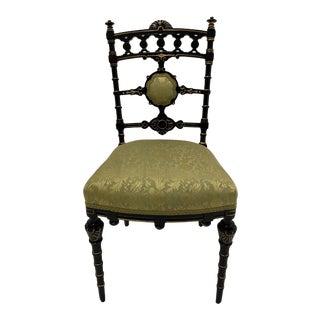 Strikingly Decorative Victorian Aesthetic Movement Gilt & Ebonized Chair For Sale