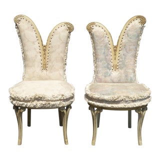 Vintage French Provincial Heart Shaped White & Floral Accent Chairs - a Pair For Sale