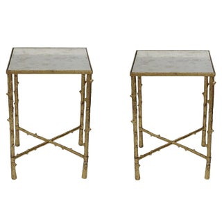Contemporary Glostrup Square Metal Side Tables - a Pair