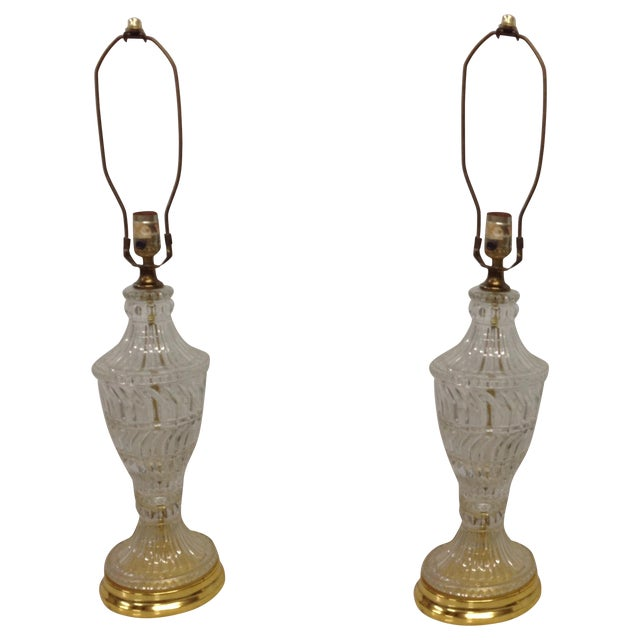 Hollywood Regency Crystal & Brass Lamps - A Pair - Image 1 of 5