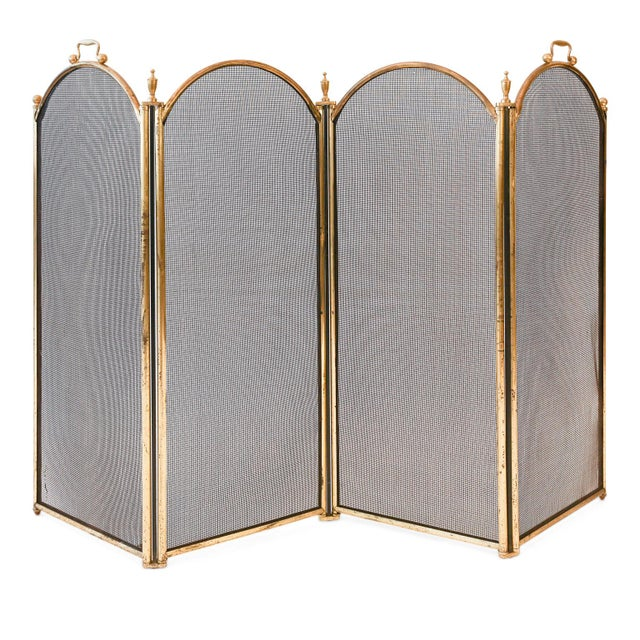Metal Unusually Tall Heavy Fire Screen For Sale - Image 7 of 7