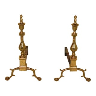 Virginia Metal Crafters Williamsburg Cw-100 Brass Fireplace Andirons - a Pair For Sale