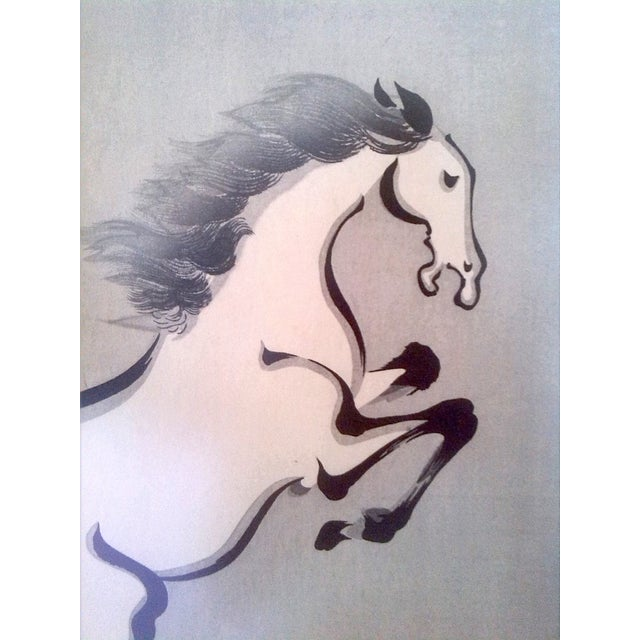 Wakyosai Rearing Horse Japanese Ink Painting For Sale - Image 4 of 6