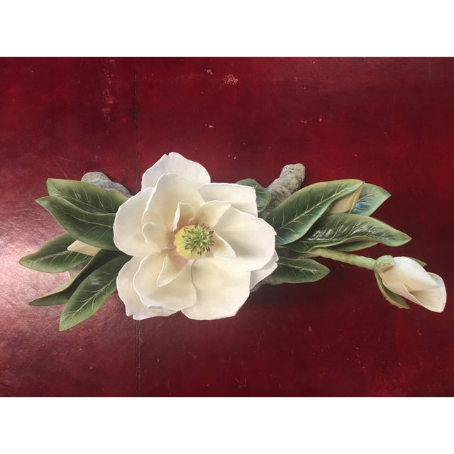 "Contemporary Vintage Hand-Fashioned Boehm Porcelain Bisque Centerpiece ""Magnolia Grandiflora"" Signed by Helen Boehm For Sale - Image 3 of 9"