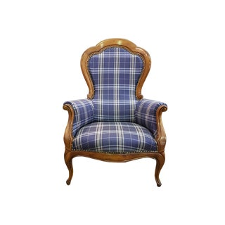 French 19th Century Antique Louis XV Large Carved Cherry Wood Armchair Newly Upholstered For Sale