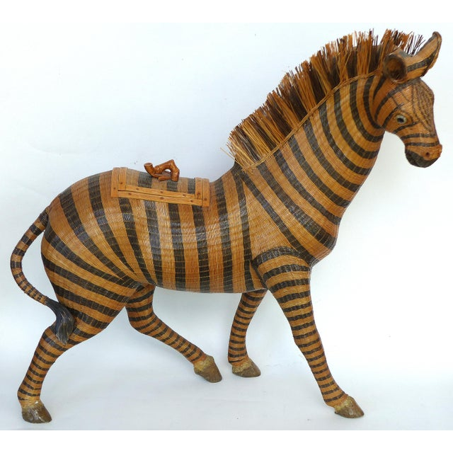 Chinese Woven Reed Zebra Trinket Box For Sale - Image 13 of 13