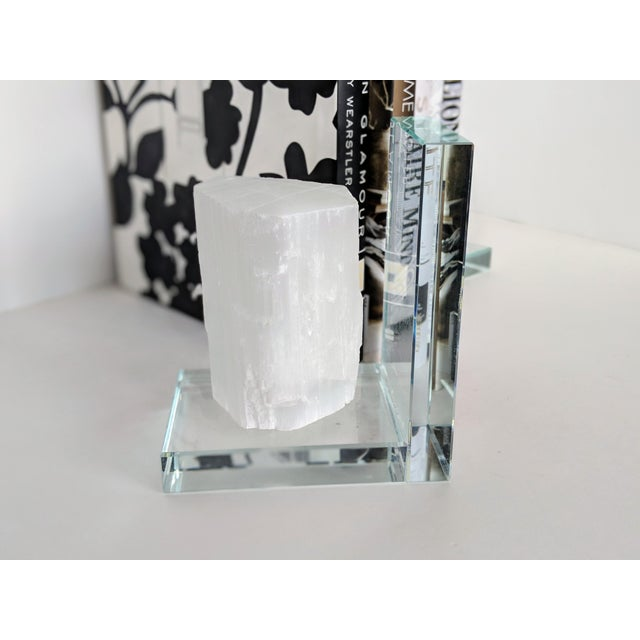Art Deco Lead Crystal & Selenite Bookends - Two (2) For Sale - Image 3 of 11