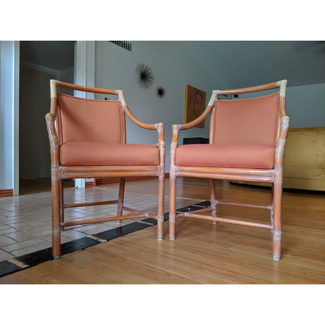 1970s 1970s Vintage McGuire Rattan Armchairs- Set of 4 For Sale - Image 5 of 12