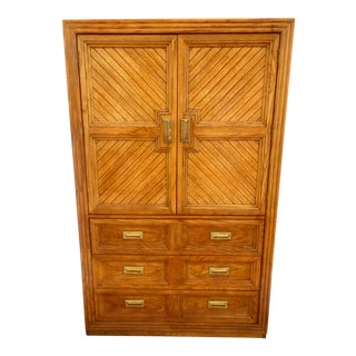 Huntsley Golden Oak Chevron Armoire For Sale