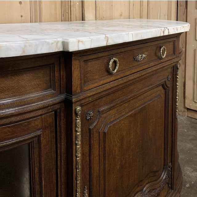 19th Century French Louis XVI Marble Top Display Buffet For Sale - Image 10 of 12