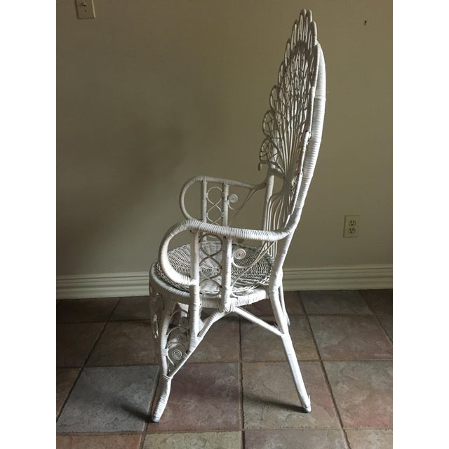 White Wicker Peacock Chair For Sale In Dallas - Image 6 of 6