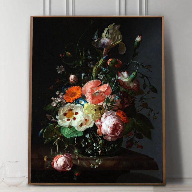 Realism Rachel Ruysch Still Life With Flowers 1716 Unframed Giclée Print For Sale - Image 3 of 6