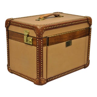 Vintage Italian Leather Toiletry Box Case Travel Trunk For Sale