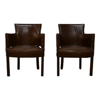Four Hands Baldwin Leather Arm Chairs - a Pair For Sale