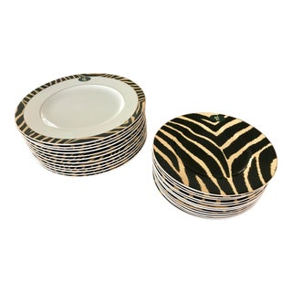 Lauren by Ralph Lauren Home Safari Zebra Dinnerware Set - 12 Dinner/12 Salad Plates For Sale