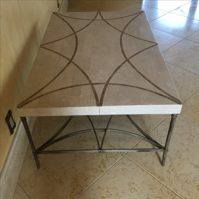 Faux Stone and Metal Coffee Table For Sale - Image 9 of 9