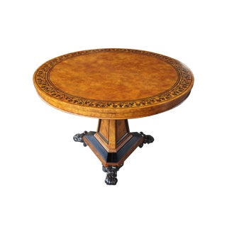 Baker Furniture Stately Homes Regency Centre Table Burr Ash Ebonized Inlay Yew For Sale