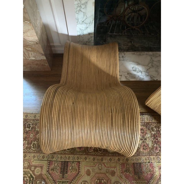 Tan Sculptural Pencil Reed Bamboo Ear Lounge Chair For Sale - Image 8 of 13