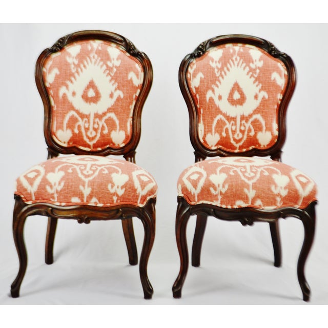 Vintage Victorian Style Upholstered Accent Chairs A Pair Chairish