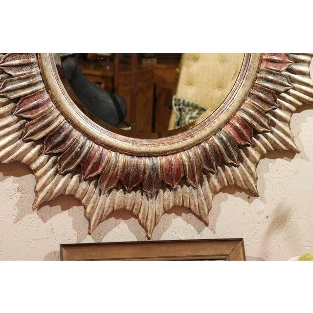 Large Polychrome Sunburst Mirror - Image 4 of 5