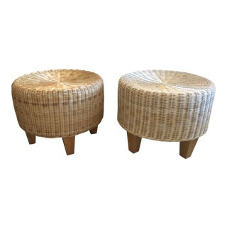Woven Rattan Round Ottomans- a Pair For Sale