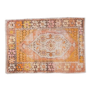 "Vintage Distressed Oushak Square Rug - 2'10"" X 4'1"" For Sale"
