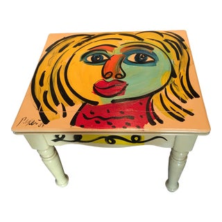 Peter Keil Colorful Abstract Painted Table For Sale