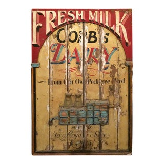 Vintage Hand Painted Fresh Milk Sign For Sale