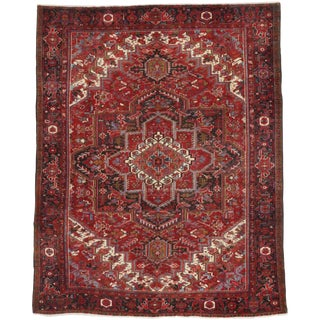 Vintage Persian Heriz Rug With Modern Style - 10'03 X 12'11