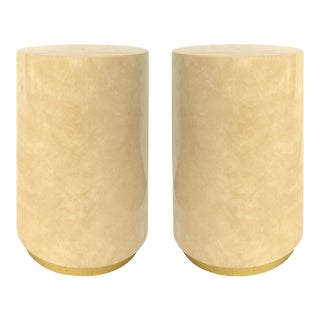 Faux Finish Pedestals W/ Brass Banded Bases- a Pair For Sale