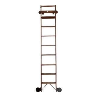 Antique 1900s Wooden Library Shop Ladder For Sale